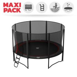 Maxi Pack Cama elástica Booster Black 430 con red + Escalera + Kit de fijación + Funda