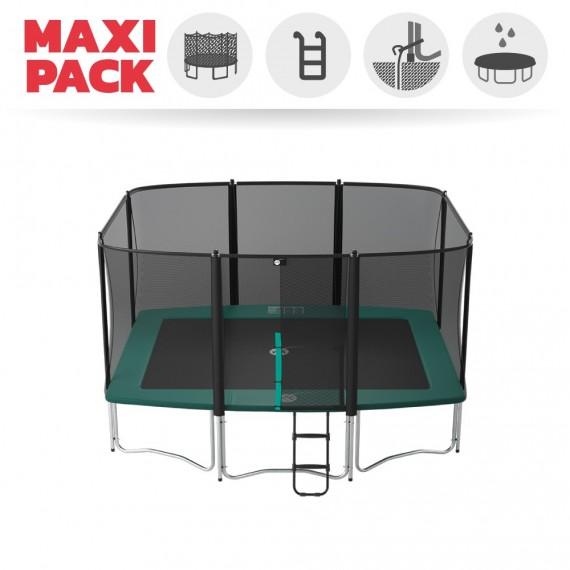 Maxi Pack Cama elástica Apollo Sport 400 con red + Escalera + Kit de fijación + Funda