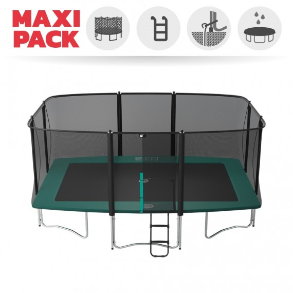Maxi Pack Cama elástica Apollo Sport 500 con red + Escalera + Kit de fijación + Funda