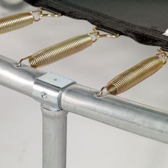 Fijación de los muelles a la estructura y la tela de salto de la cama elástica Jump'Up 430