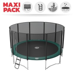 Maxi Pack Cama elástica Jump'Up 460 con Red + Escalera + Kit de fijación + Funda