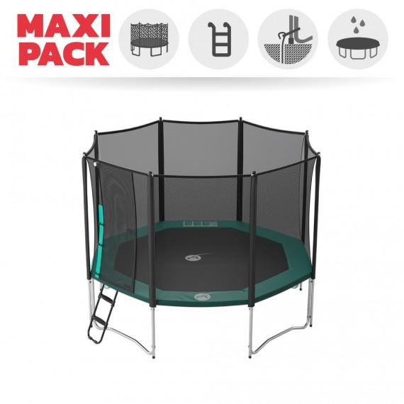 Maxi Pack Cama Elástica Waouuh 360 con red + Escalera + Kit de fijación + Funda