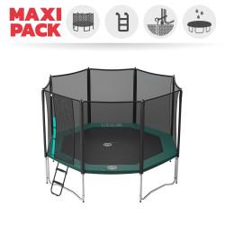 Maxi Pack Cama Elástica Waouuh 390 con red + Escalera + Kit de fijación + Funda