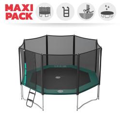 Maxi Pack Cama elástica Waouuh con red + Escalera + Kit de fijación + Funda