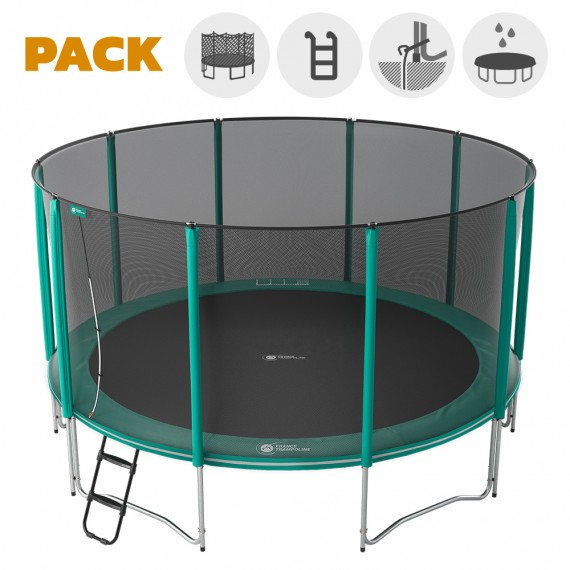 Maxi Pack Cama elástica Jump'Up 460 con Red + Escalera + Kit de fijación + Funda