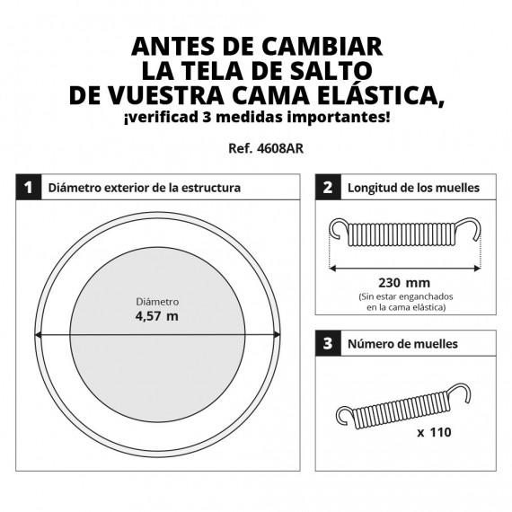 Tela de salto para cama elástica 460 para 110 muelles plateados 230 mm