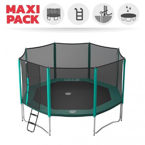 Maxi Pack Cama elástica Waouuh 460 con red + Escalera + Kit de fijación + Funda