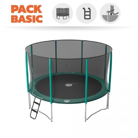 Pack básico Cama elástica Jump'Up 390 con Red + Escalera + Kit de fijación