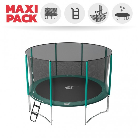 Maxi Pack Cama elástica Jump'Up 390 con Red + Escalera + Kit de fijación + Funda