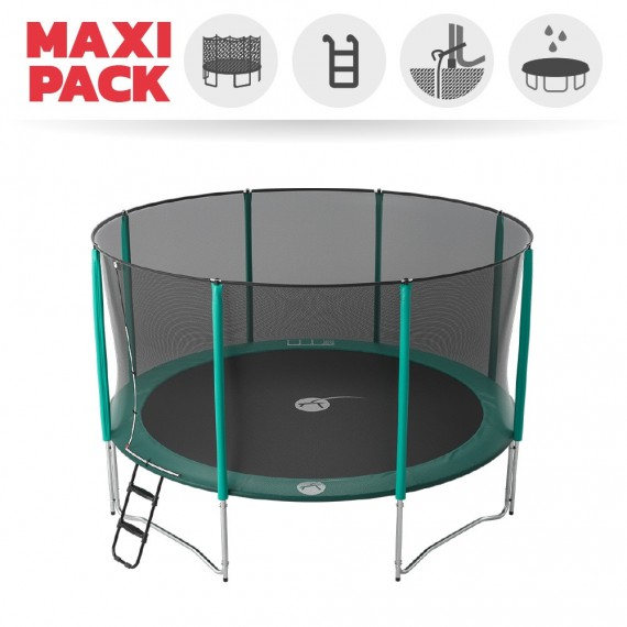 Maxi Pack Cama elástica Jump'Up 430 con Red + Escalera + Kit de fijación + Funda