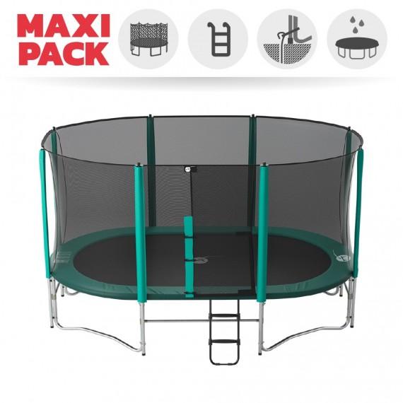 Maxi Pack Cama elástica Ovalie 490 con red + Escalera + Kit de fijación + Funda