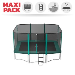 Maxi Pack Cama elástica Apollo Sport 400 con red + Escalera + Kit de fijación + Funda