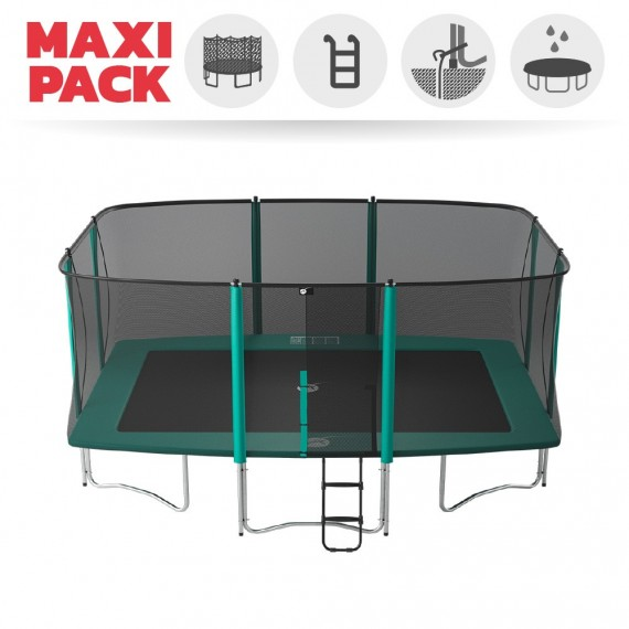 Maxi Pack Cama elástica Apollo Sport 500 con red + Escalera + Kit de fijación + Funda