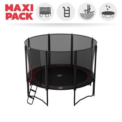 Maxi Pack Cama elástica Booster Black 360 con red + Escalera + Kit de fijación + Funda