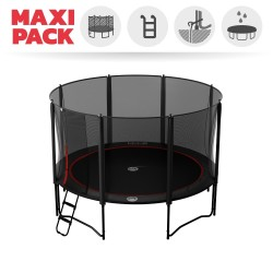 Maxi Pack Cama elástica Booster Black 390 con red + Escalera + Kit de fijación + Funda
