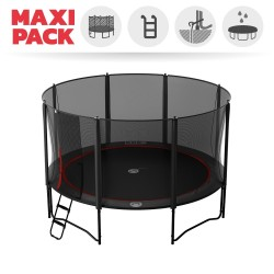 Maxi Pack Cama elástica Booster Black 430 con red + Escalera + Kit de fijación + Funda