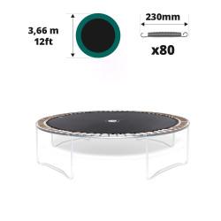 Tela de salto para cama elástica Ø 366 con 80 muelles 230 mm plateados