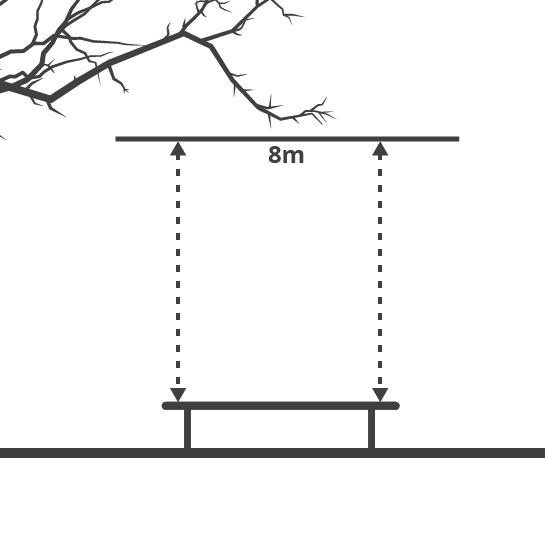 Diagrama altura necesario para el cama elástica
